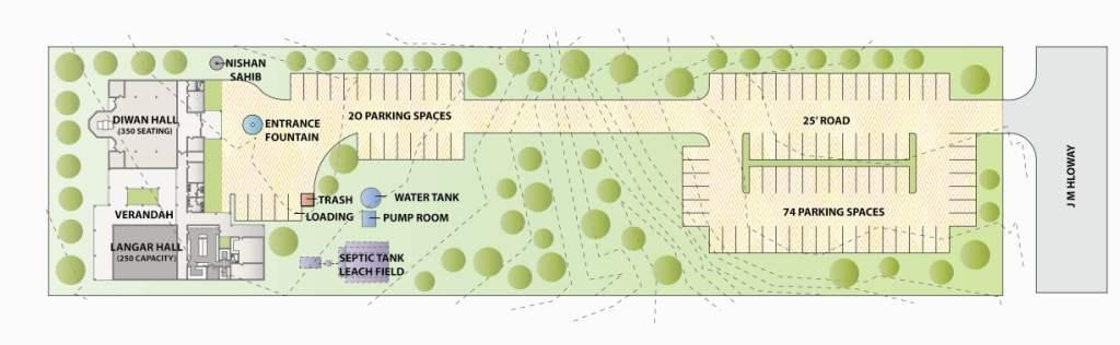 Site Plan showing parking lot and other facilities